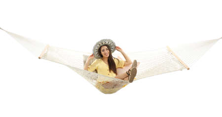 Woman resting in hammock on white background