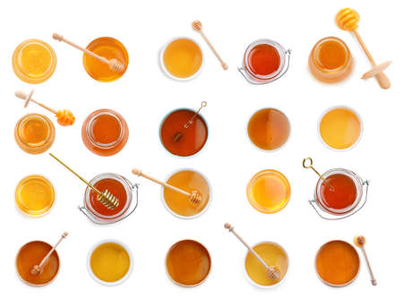 Set of organic delicious honey on white background