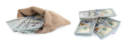 Sack and money on white background. American dollars