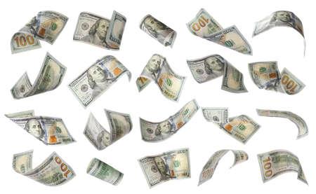 흰색 바탕에 미국 달러의 집합입니다. 날아다니는 돈