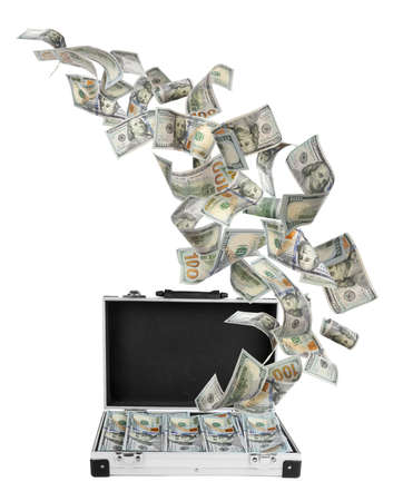 Metal case and American dollars on white background. Flying money