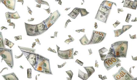 Molti dollari americani su sfondo bianco. Soldi volanti