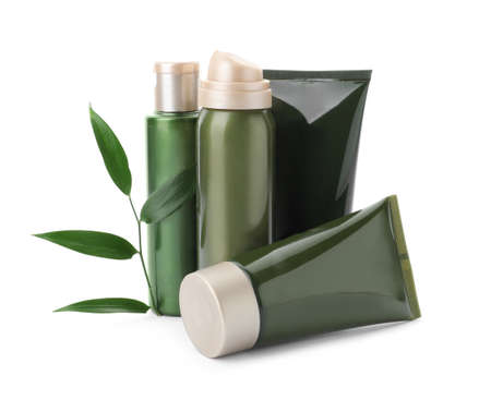 Cosmetic products and plant isolated on white Stock Photo