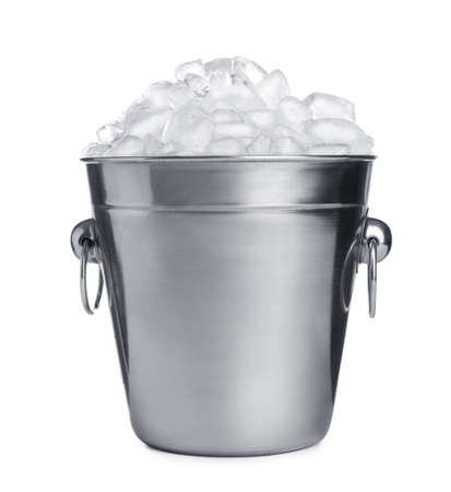 Metal bucket with ice cubes isolated on white Archivio Fotografico