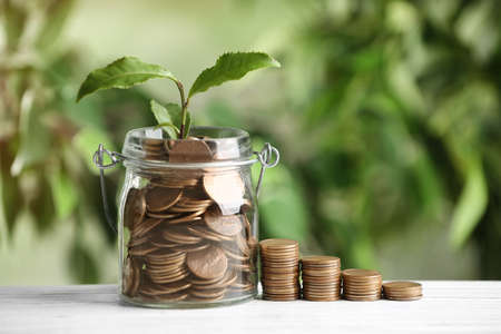 Coins and green sprout on white wooden table against blurred background. Money savings Stockfoto