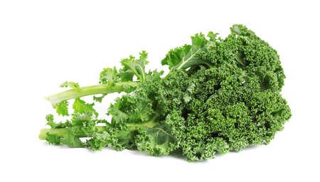 Fresh green kale leaves isolated on white Stock fotó