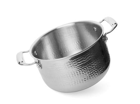 Empty modern steel pot isolated on white