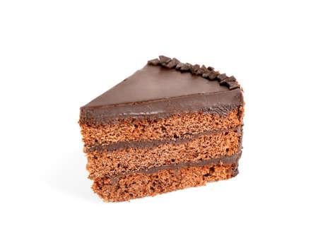 Piece of tasty chocolate cake isolated on white
