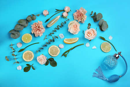 Beautiful flat lay composition with bottle of perfume, eucalyptus, citrus fruits and flowers on blue background Stock Photo