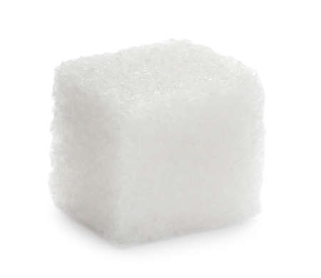 Refined sugar isolated on white, closeup view