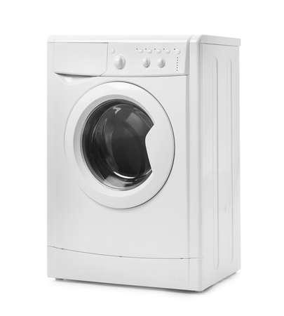 Nowoczesna pralka na białym tle. Dzień prania Zdjęcie Seryjne