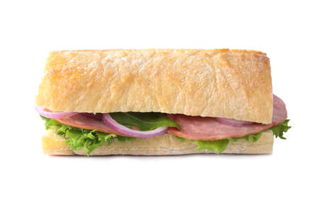 Tasty sandwich with ham isolated on white