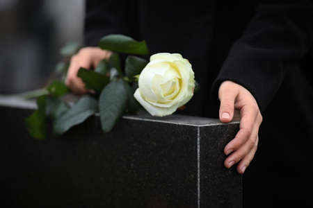 Woman holding white rose near black granite tombstone outdoors, closeup. Funeral ceremony