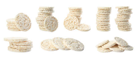 Set of puffed rice cakes on white background