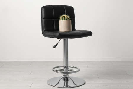Chair with cactus near white wall. Hemorrhoids concept