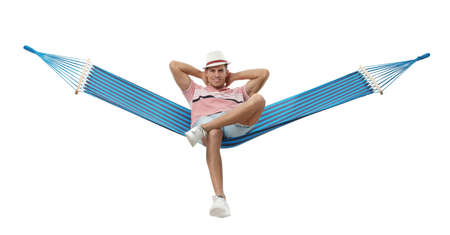Man resting in hammock on white background
