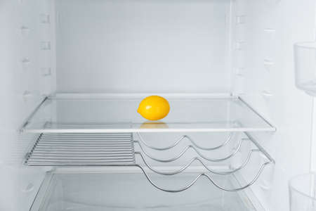 Fresh organic lemon on empty shelf in refrigerator
