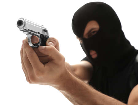Professional killer with gun on white background Zdjęcie Seryjne
