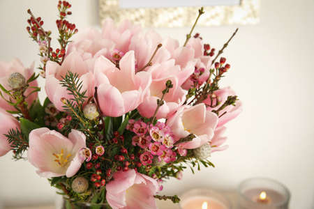 Beautiful bouquet with spring pink tulips, closeup