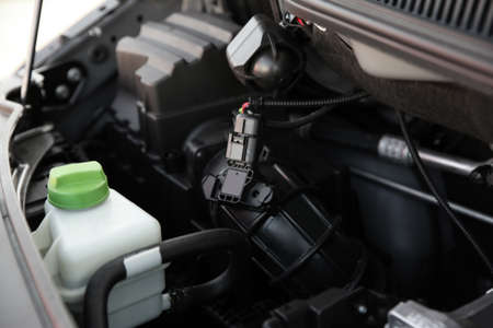 Closeup view of engine bay in modern car