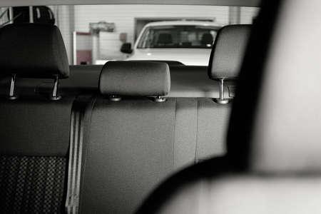 Modern car interior with comfortable grey seats
