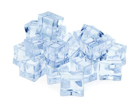 Crystal clear ice cubes isolated on white
