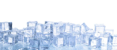 Crystal clear ice cubes with water drops isolated on white