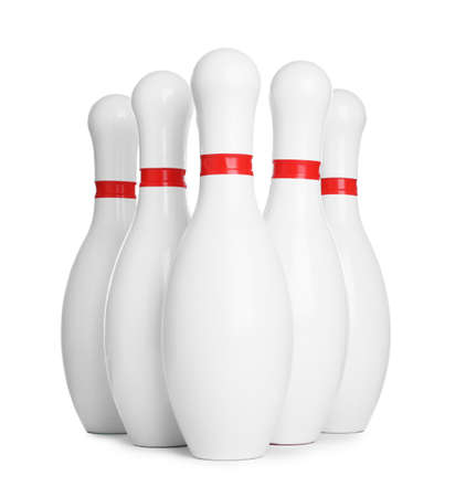 Bowling pins with red stripes isolated on white Stock Photo