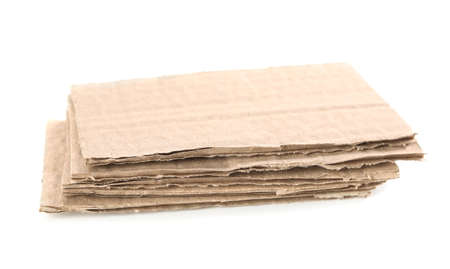 Pieces of brown cardboard isolated on white