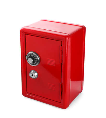 Closed red steel safe isolated on white