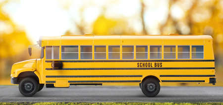 Yellow school bus on road outdoors. Transport for students