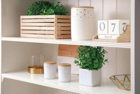 White shelving unit with plants and different decorative stuff Reklamní fotografie