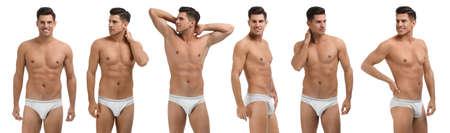 Collage of man in underwear on white background