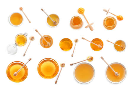 Set of organic delicious honey on white background, top view Banque d'images