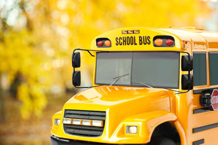 Yellow school bus outdoors. Transport for students Stockfoto