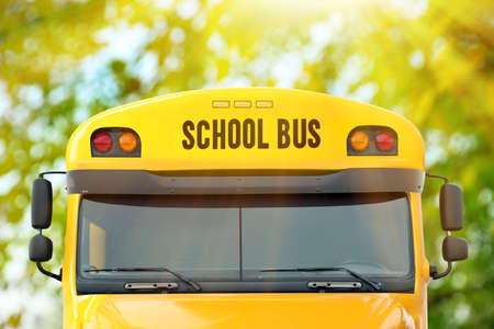 Yellow school bus outdoors, closeup. Transport for students Stockfoto