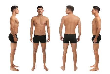 Collage of man in underwear on white background Foto de archivo