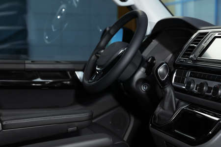 Gearshift and dashboard inside of modern car Stock Photo