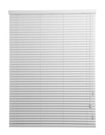Window with closed blinds on white background