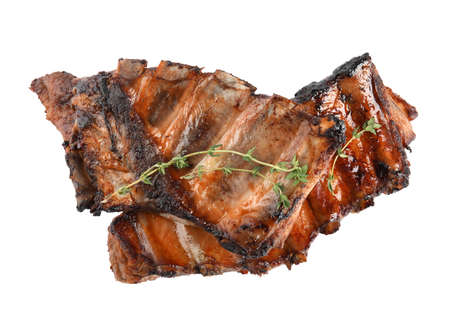 Tasty grilled ribs with thyme isolated on white, top view