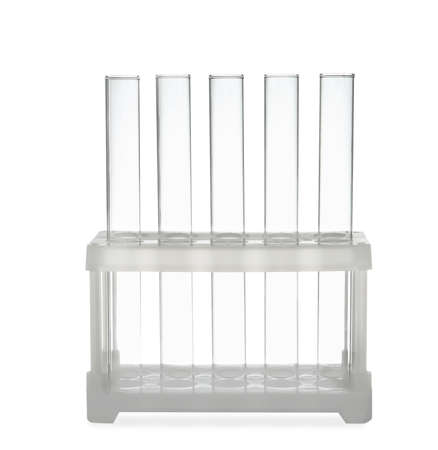 Empty test tubes in rack isolated on white. Laboratory glassware