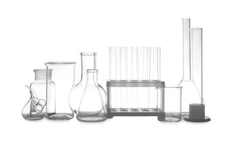 Clean empty laboratory glassware isolated on white