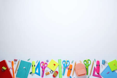 Different school stationery on white background, top view Foto de archivo