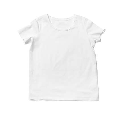 Modern t-shirt isolated on white, top view