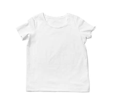 T-shirt moderne isolé sur blanc, vue de dessus