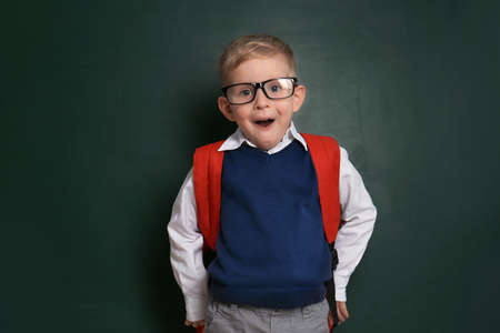 Funny little child wearing glasses near chalkboard. First time at school