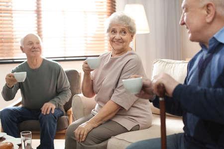Elderly people spending time in geriatric hospice. Senior patients care