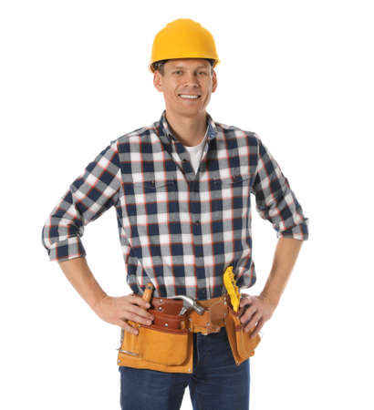 Handsome carpenter with tool belt isolated on white