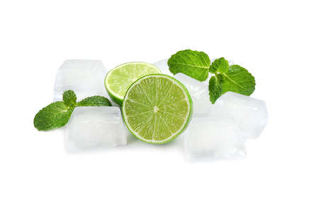 Crystal clear ice cubes, mint and lime on white background