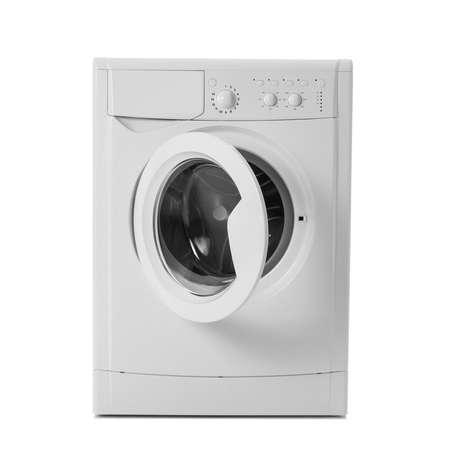 Modern washing machine isolated on white. Laundry day